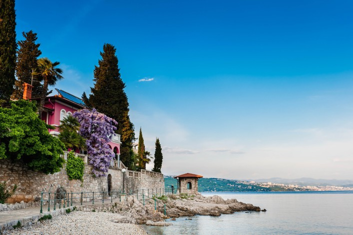 Adriatic Sea scenic view. Opatija town, popular tourist destination of Croatian coast shutterstock_76362202-2