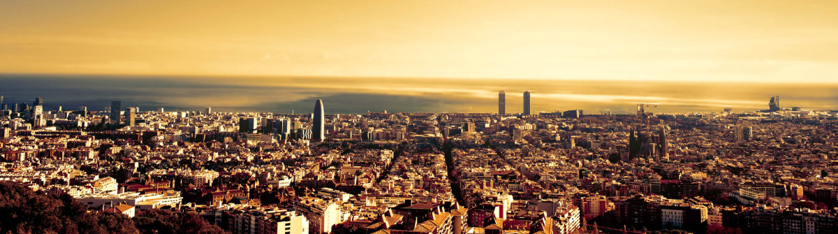 Barcelona – a bird view over city. Catalonia, Spain. Night, sunset