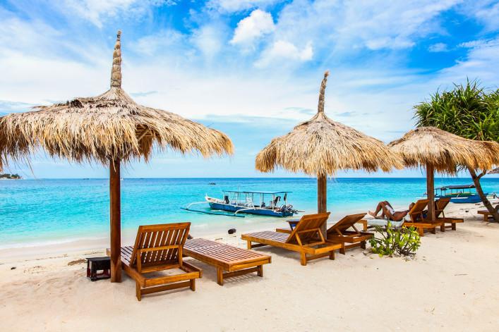 """Beach rest pavillion in Gili islands, Meno"""
