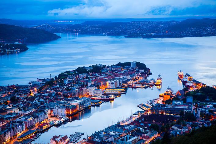 Bergen at night, panoramic view