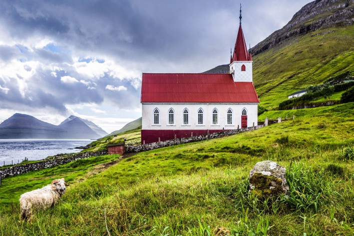 Church in Kalsoy island, Faroe Islands shutterstock_423721339-2