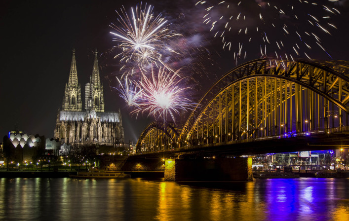 Fireworks at Cologne Cathedral, Cologne, Germany shutterstock_334991495-2