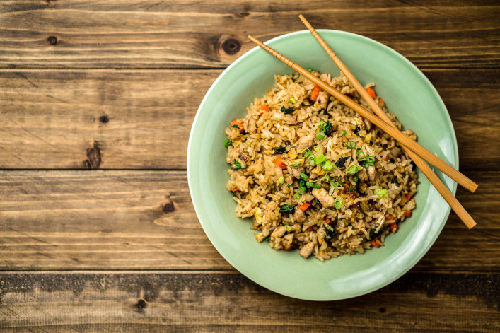 Fried Rice Top View on a Wooden Background