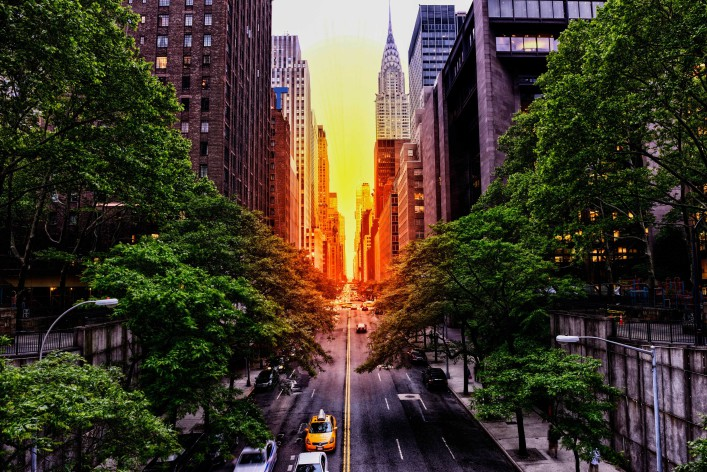 Sunset on 42nd street, NYC
