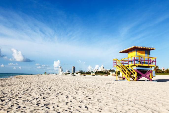 A Lifeguard stand along the shores of Miami Beach