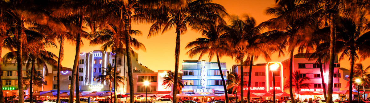 nighttime view of Ocean Drive in South Beach, Miami Beach, Flori