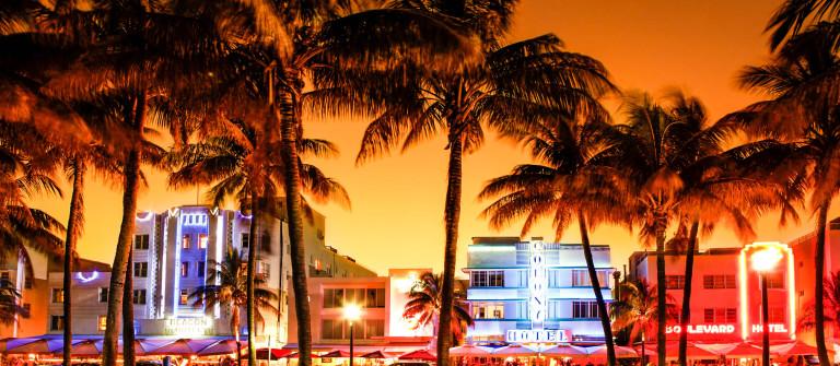 nighttime view of Ocean Drive in South Beach, Miami Beach, Flori