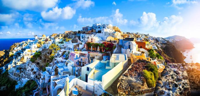 Panoramic view of Santorini, Greece iStock_000089536317_Large-2