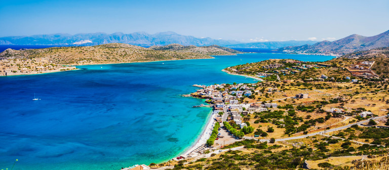 Panoramic view of the sea coast with turquoise water.