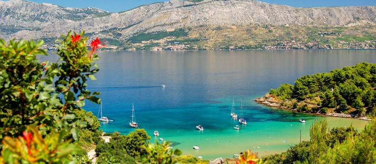 Picturesque view on sandy Lovrecina beach on Brac island, Croatia shutterstock_59708113-2