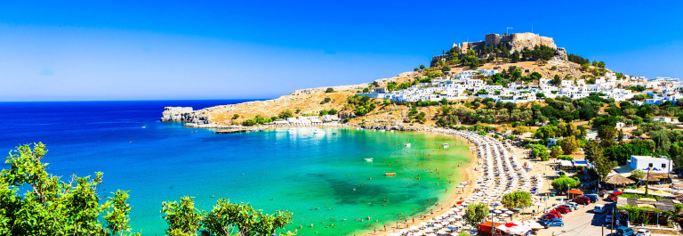Rhodes island, Lindos beach . Greece