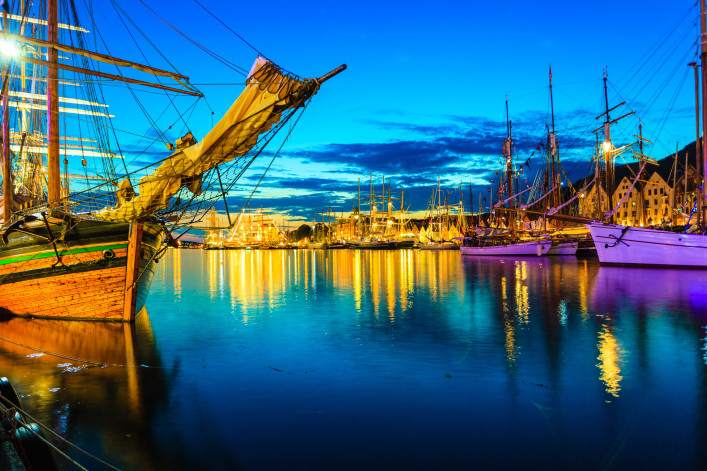 Sailing ships in the harbour during the tall ships races Bergen, Norway shutterstock_229756564-2