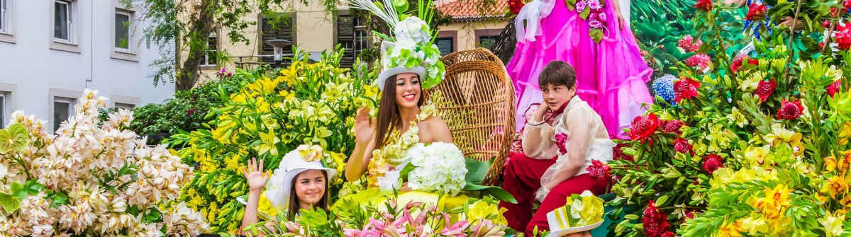 Participants in festive Parade Float at the Madeira Flower Festival