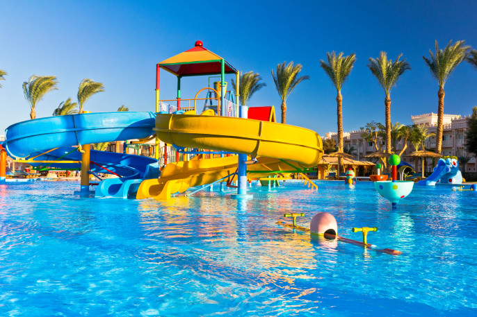 Waterpark in luxury tropical resort