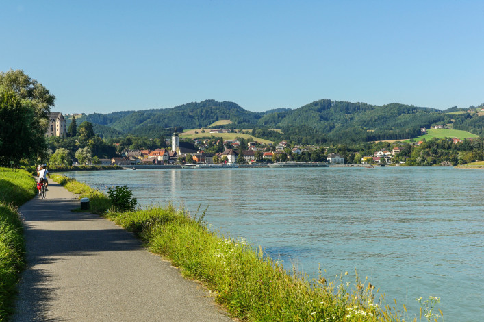 bcycle path to grein near danube river at austria
