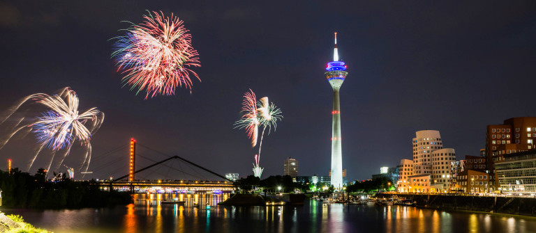 Firework in Dusseldorf media harbor.