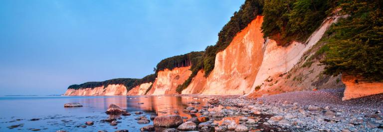 R?gen Island Chalk Cliffs in Warm Light of Rising Sun