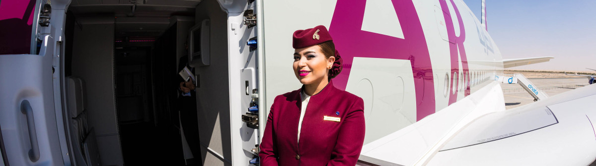 Qatar Airways Airbus A380 cabin crew member, flight attendant shutterstock_373366714 EDITORIAL ONLY Dmitry Birin-2