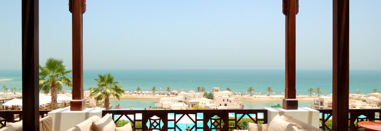 """Sea view terrace at luxury hotel, Fujairah, UAE"""