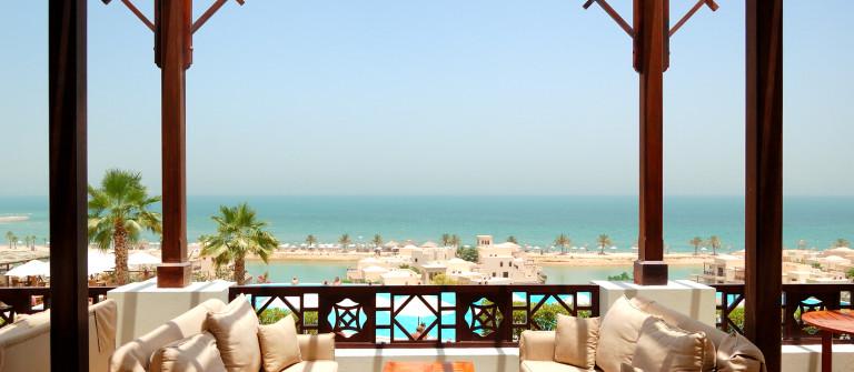 """Sea view terrace at luxury hotel, Fujairah, UAE"""