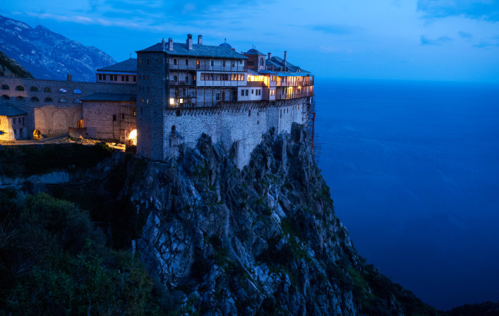 Simonos Petras Monastery Mount Athos, Greece, at night shutterstock_135760904-2