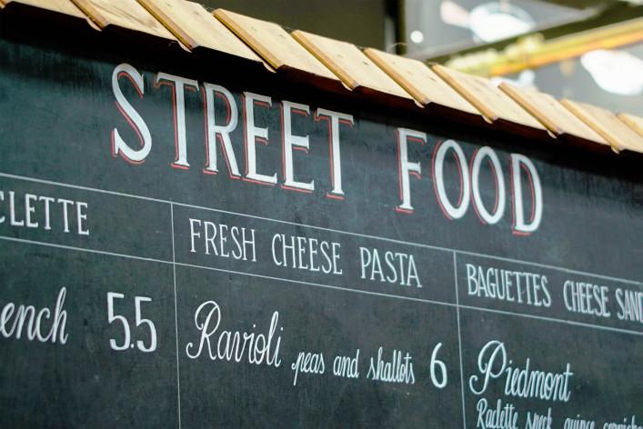 Streetfood Sign on local market