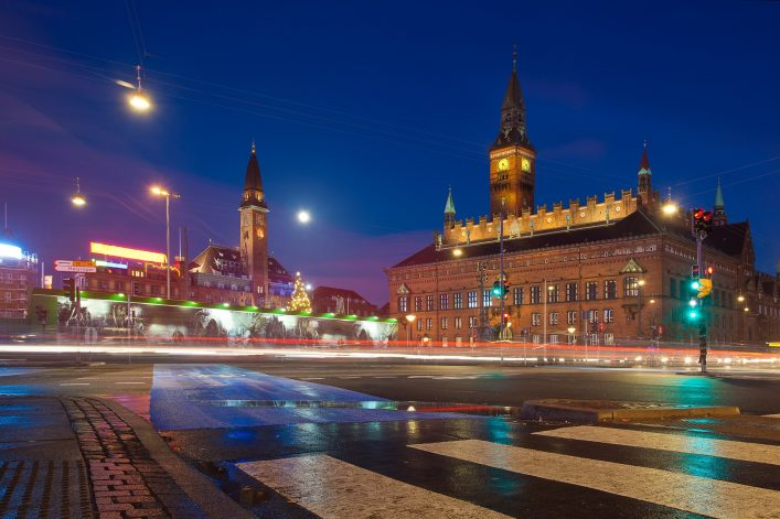 Copenhagen Denmark Town Hall by night shutterstock_400861474