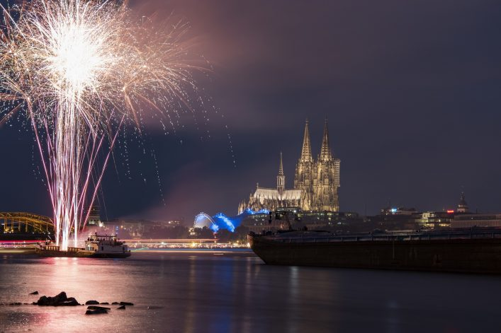 Fireworks at Cologne Cathedral (Kölner lichter), Cologne, Germany,Fireworks koln lights festival 2017 shutterstock_679631200