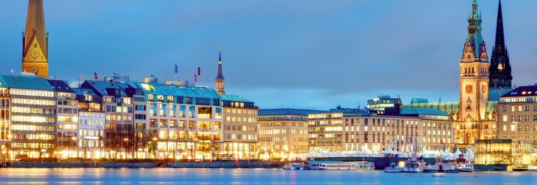 Hamburg, Germany Old town hall, city and river alster shutterstock_181473197