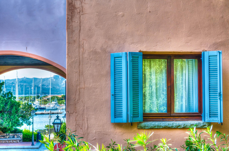 turquoise window in Porto Rotondo, Sardinia