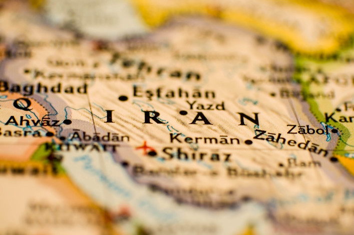 Partially Blurred Image of Iran on a Map