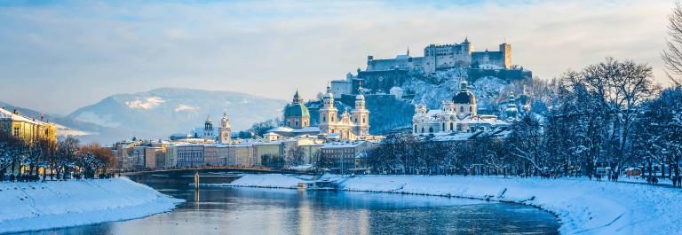 Salzburg skyline with Fortress Hohensalzburg in winter, Salzburg
