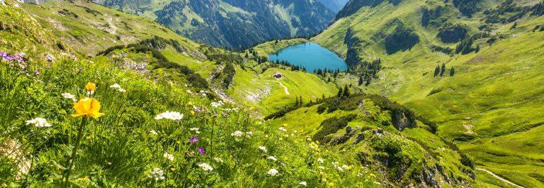 the alpine lake seealpsee near oberstdorf, bavaria, germany iStock_000043365682_Large-2