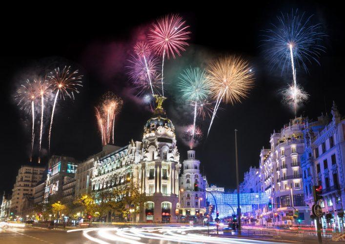 Silvester in Madrid Feuerwerk