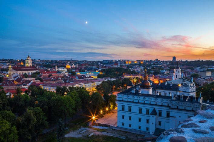 Palace of the Grand Dukes, Cathedral and city panoramic view. Lithuania. Vilnius Old Town.