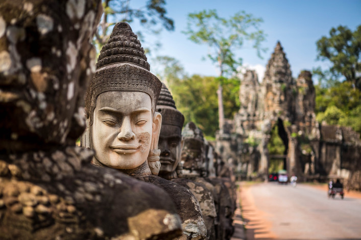 Buddhist head statue in Angkor Wat temple site