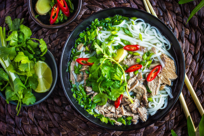Traditional Vietnamese soup Pho with beef and rice noodles, top view shutterstock_397328149-2