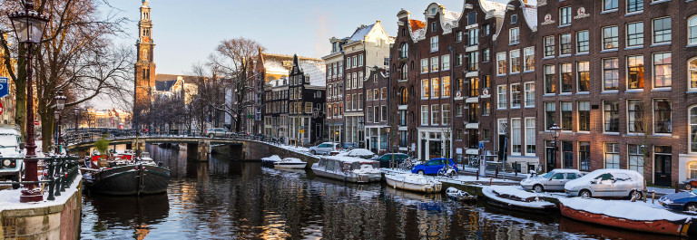 Winter western church canal