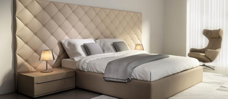 Contemporary elegant luxury beige leather bedroom