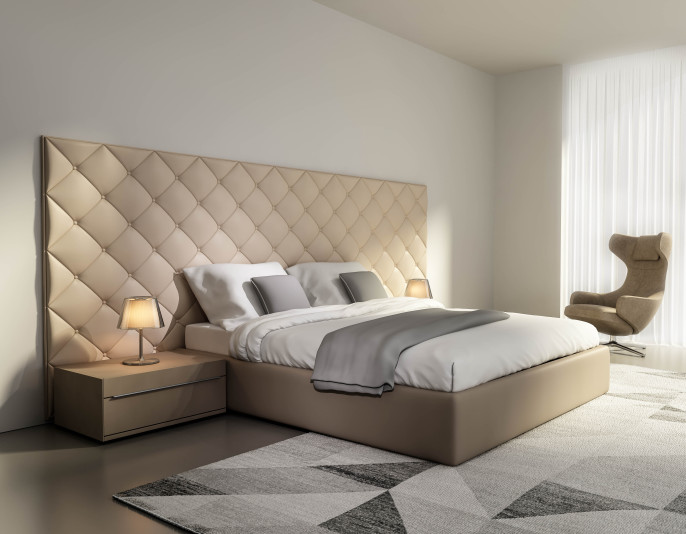 Contemporary elegant luxury beige leather bedroom