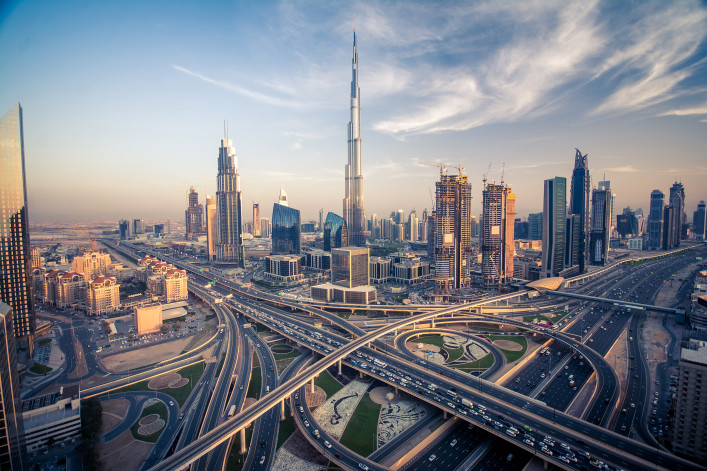 Dubai skyline with beautiful city close to it's busiest highway on traffic_shutterstock_429620146