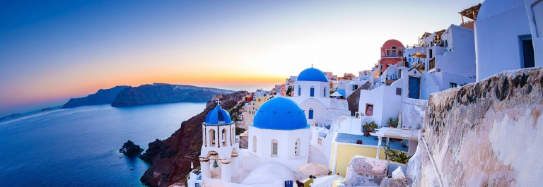 Santorini Oia village at dusk