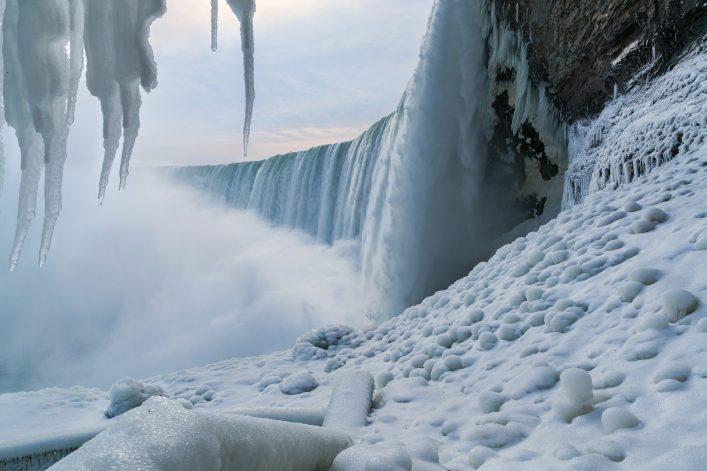 Niagara Falls in the winter with icicles shutterstock_578447866