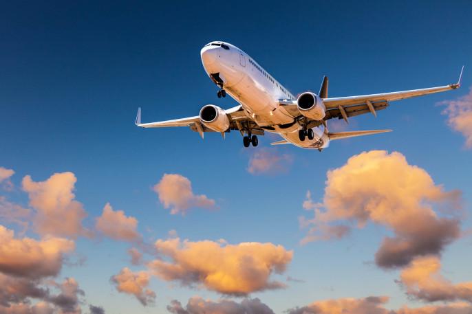 Aircraft  Landing from Sunset Sky