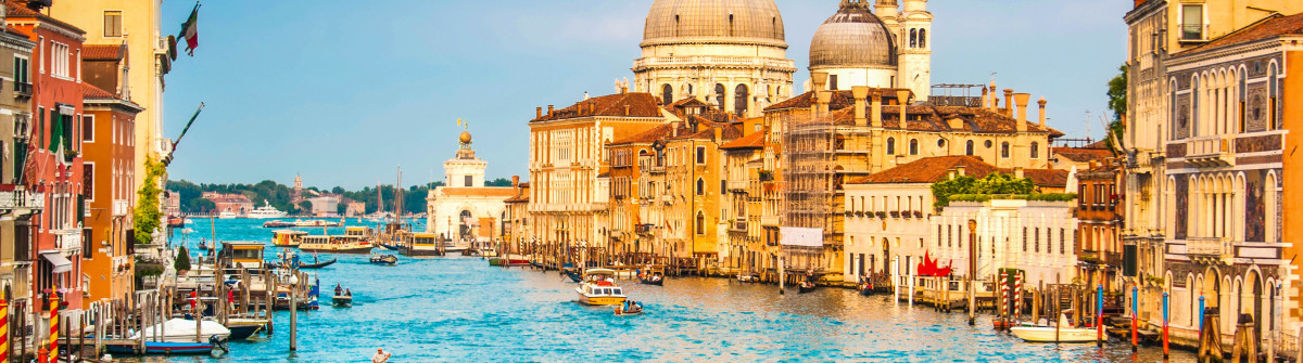 Beautiful view of famous Canal Grande and Basilica di Santa Mari