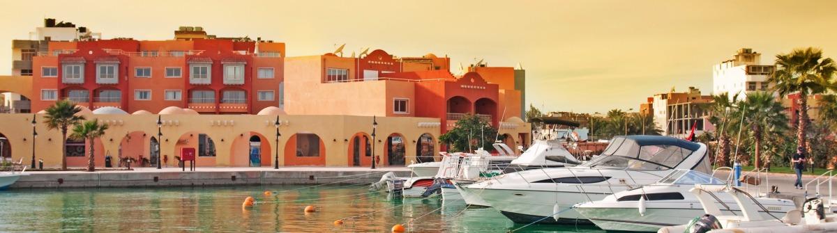 Yacht bay in Hurghada – Egypt. Hurghada Marina boulvar