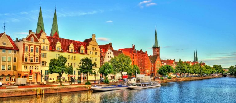 The Trave River in Lubeck – Germany, Schleswig-Holstein_shutterstock_519605452_klein