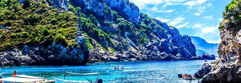 Cliffside coastline on Corfu