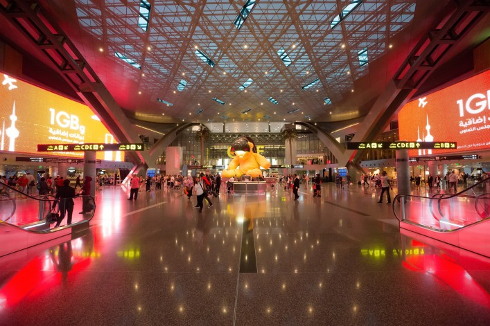 Hamad International Airport in Doha, Katar_EDITORIAL ONLY_Oleg GawriloFF shutterstock_455012176