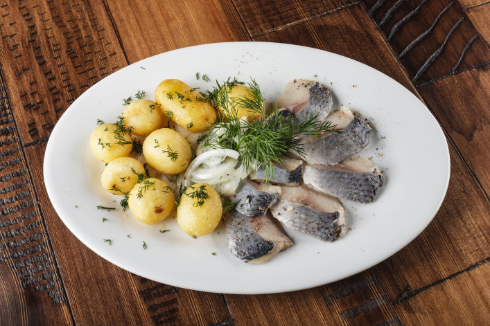 Herring fish with young potato